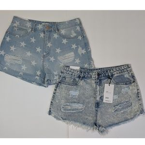 Lot of 2 Forever 21 Distressed Jean Shorts 29